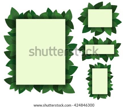 set frame of leaves plant isolated on white background - stock photo