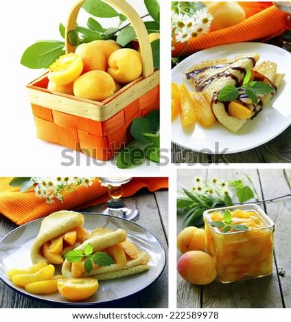 set fresh fruits apricot, jam and pancakes - stock photo