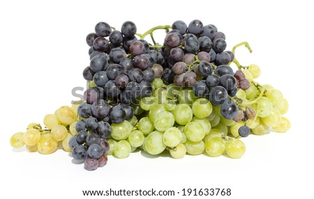 Set fresh grape fruits with green leaves isolated on white background