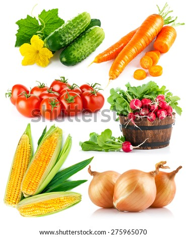 Set fresh vegetables. Isolated on white background - stock photo