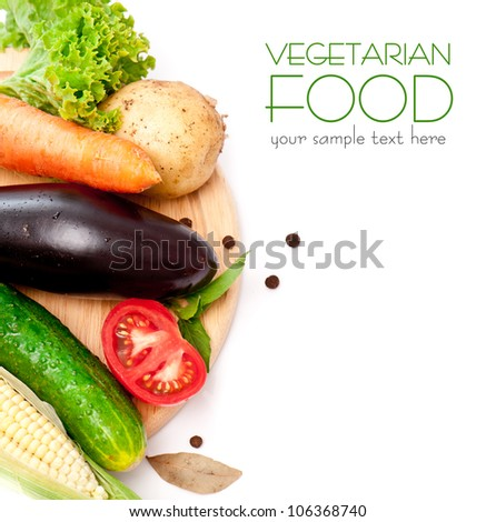 set fresh vegetables with green leaf isolated on white background - stock photo
