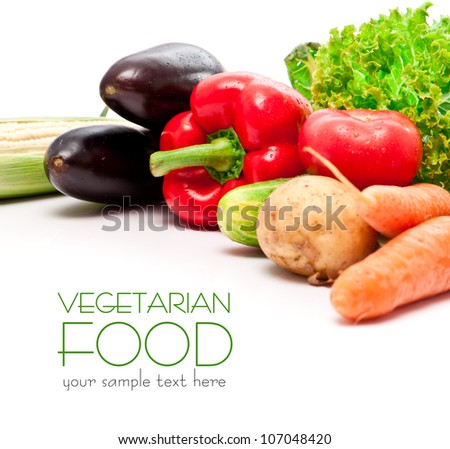 set fresh vegetables with green leaf isolated on white background