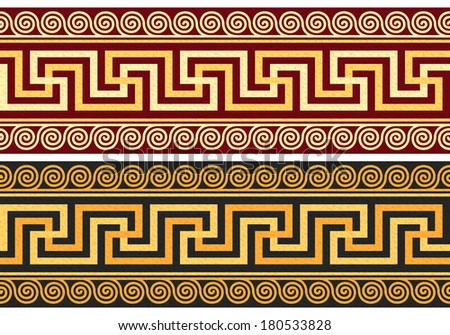 set frieze with vintage golden and blue Greek ornament (Meander) and floral pattern on a red and black background - stock photo
