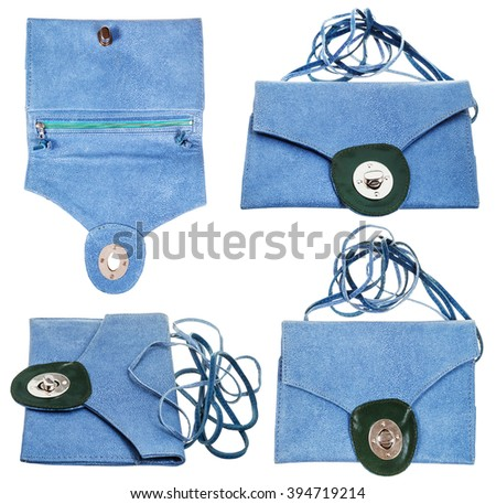 set from blue clutch bag from stingray leather isolated on white background - stock photo