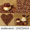 Set from four images with coffee cups, beans and heart - stock photo