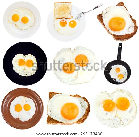 set from fried eggs isolated on white background - stock photo