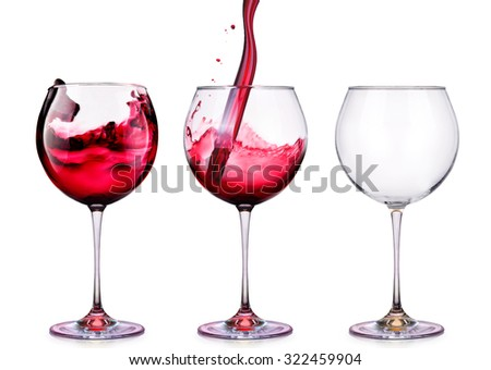 Set from glasses with wine isolated on a white background
