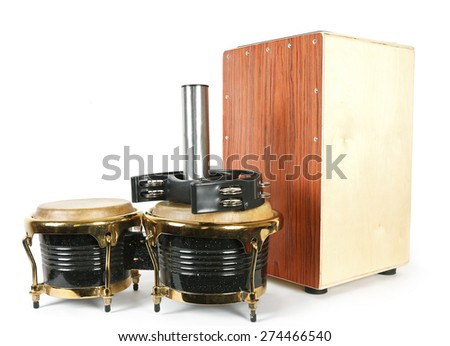 Set from music percussion instruments - stock photo