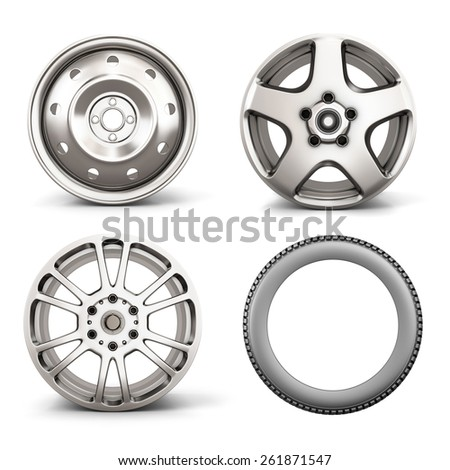 Set from three disks for the car and the tire isolated on white background. 3d illustration.