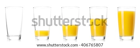 Set - glass of fresh orange juice, isolated on white background
