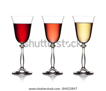 set glass of red, rose and white wine on a white background . The file includes a clipping path. - stock photo