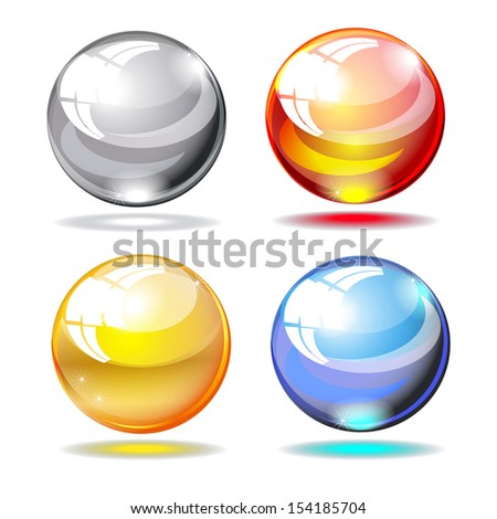 set glass sphere, glass ball grey, red, yellow, blue isolated on white background raster - stock photo