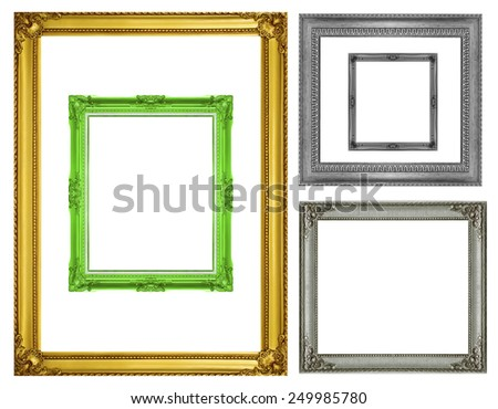 Set  gold  frame and antique frame isolated on white background - stock photo