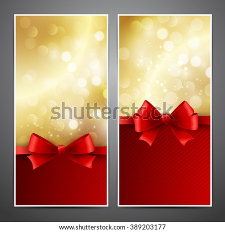Set gold gift card with red bow and ribbon