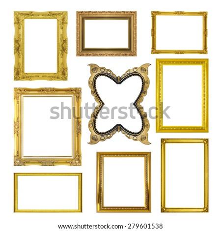 Set golden frame isolated on white background - stock photo