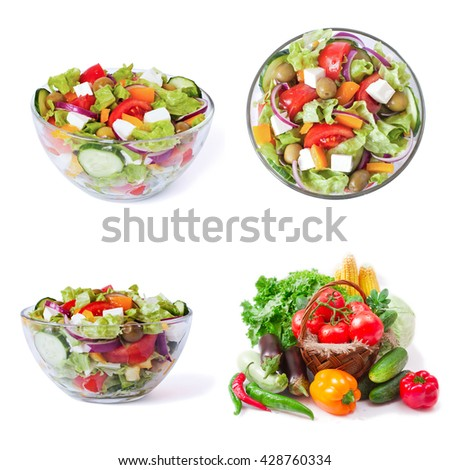 Set. Greek salad closeup top view isolated on white background