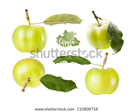 Set green apple with leaf in different angles, isolated on white background