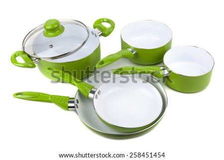 Set Green Pots and Pans isolated - stock photo