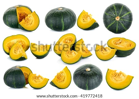 Set Green pumpkin isolated on the white background . - stock photo
