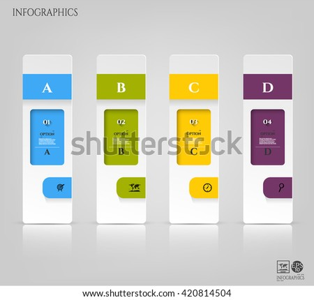 Set, group, collection of four modern labels, banners with numbers and simple icons, isolated on bright background, for infographics, presentations, documents - stock photo