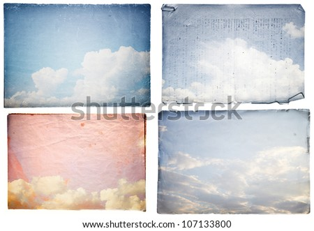 set grunge paper texture.  abstract nature background - stock photo