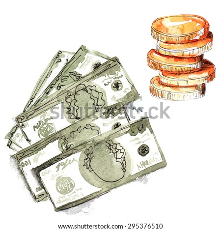 set hand-painted watercolor - dollars five pieces , in denominations of one hundred dollars , and a stack of coins - stock photo