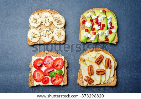 set healthy sandwiches with vegetables and fruits. toning. selective focus - stock photo