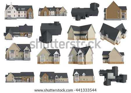 Set houses cottages facade, collection. 3D graphic - stock photo