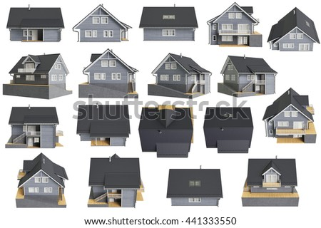 Set houses cottages wooden facade. 3D graphic - stock photo