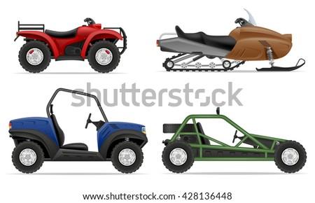 set icons atv automobile off roads illustration isolated on white background - stock photo