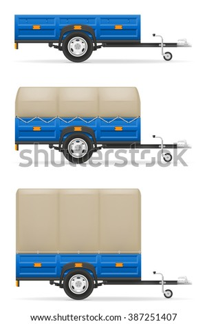 set icons car trailer for the transportation of goods illustration isolated on white background