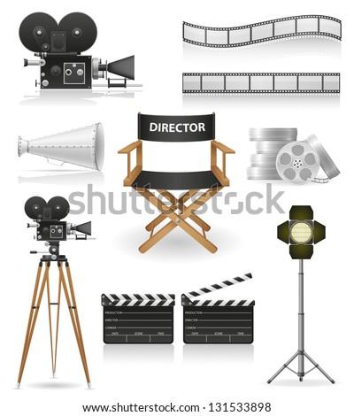 set icons cinematography cinema and movie illustration isolated on white background - stock photo