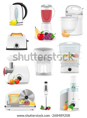set icons electrical appliances for the kitchen illustration isolated on white background - stock photo