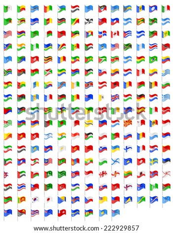 set icons flags of the world countries illustration isolated on white background