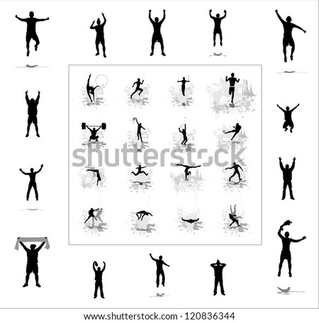 Set. Icons for sports championships and happy fans . - stock photo