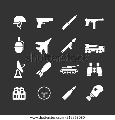 Set icons of army and military isolated on black - stock photo