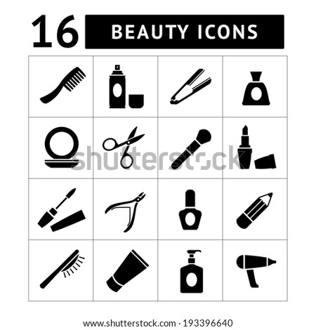 Set icons of beauty and cosmetics isolated on white - stock photo