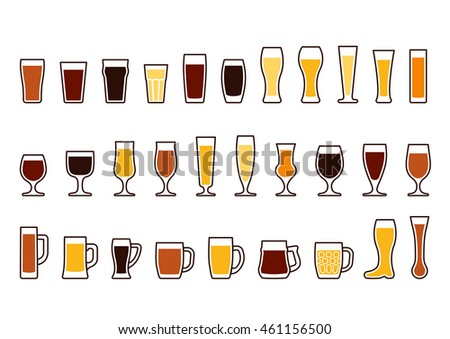 Set icons of beer mugs and glasses, raster version