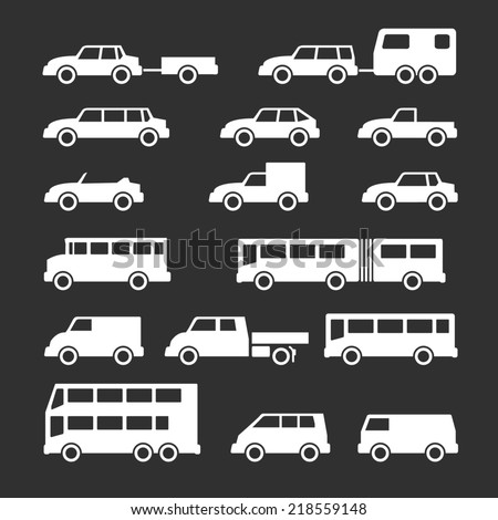 Set icons of car and bus isolated on black - stock photo