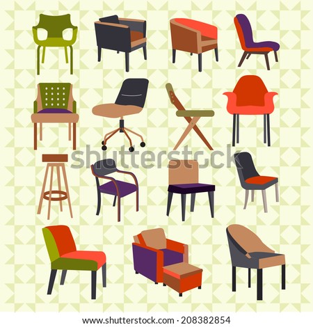 Set icons of chairs interior furniture icon  - stock photo