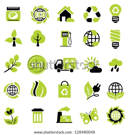 set icons of ecological signs and symbol - stock photo