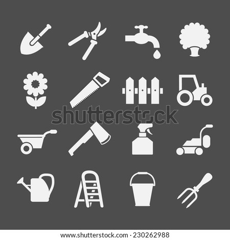 Set icons of garden and farm isolated on grey - stock photo