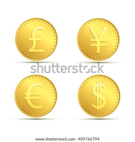 Set icons of gold coins. Currency dollar, euro, pound sterling and yen. - stock photo