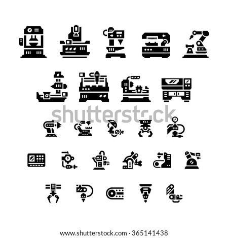 Set icons of machine tool, robotic industry isolated on white - stock photo