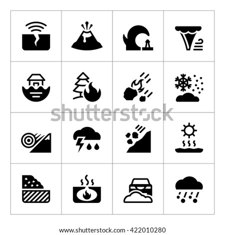 Set icons of natural disaster isolated on white - stock photo