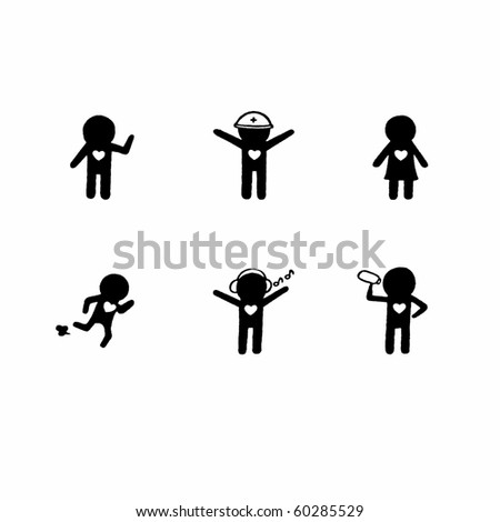 Set icons 6. Pictographs of people. Examples of activities. - stock photo