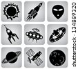 Set icons. Space transport and flying machines - stock photo