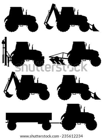 set icons tractors black silhouette illustration isolated on white background - stock photo