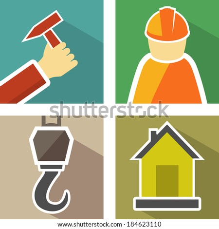 set icons with construction hook, hand with hammer, builder man and home - stock photo