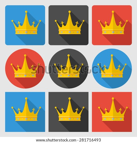 Set icons with gold crown on round and square backgrounds. Flat icon.